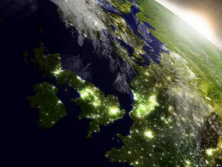 Verenigd Koninkrijk met omliggende regio tijdens zonsopgang gezien vanaf de baan van de aarde in de ruimte. 3D illustratie met zeer gedetailleerde realistische planeetoppervlakte, wolken en city lights. Stockfoto