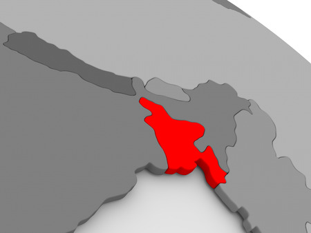 highlighted: Bangladesh highlighted in red on model of globe. 3D illustration