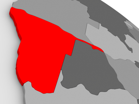 highlighted: Namibia highlighted in red on model of globe. 3D illustration