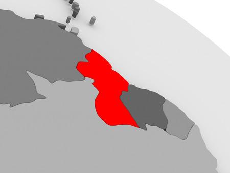guyanese: Guyana highlighted in red on model of globe. 3D illustration