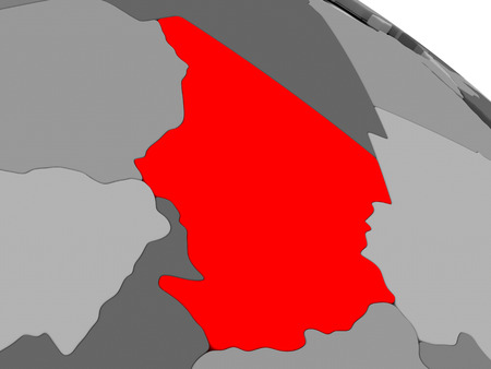 chadian: Chad highlighted in red on model of globe. 3D illustration