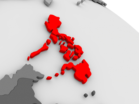 filipino: Philippines highlighted in red on model of globe. 3D illustration