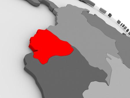 republic of ecuador: Ecuador highlighted in red on model of globe. 3D illustration