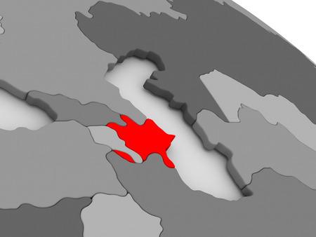 highlighted: Azerbaijan highlighted in red on model of globe. 3D illustration