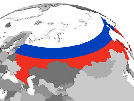 embedded: Map of Russia with embedded national flag. 3D illustration Stock Photo
