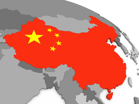 embedded: Map of China with embedded national flag. 3D illustration Stock Photo