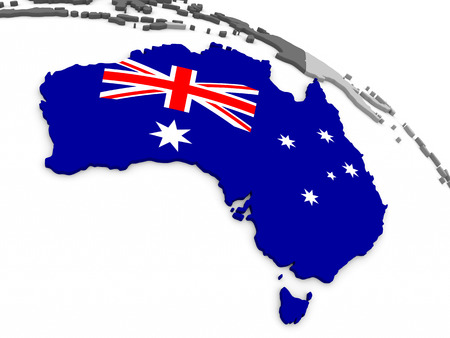 commonwealth: Map of Australia with embedded national flag. 3D illustration