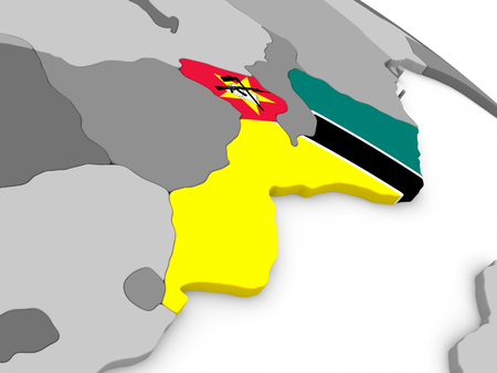 embedded: Map of Mozambique with embedded national flag. 3D illustration