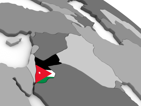 embedded: Map of Jordan with embedded national flag. 3D illustration