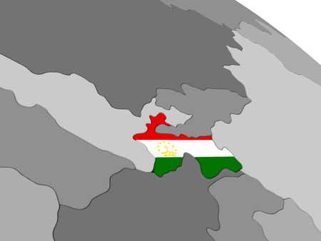 embedded: Map of Tajikistan with embedded national flag. 3D illustration