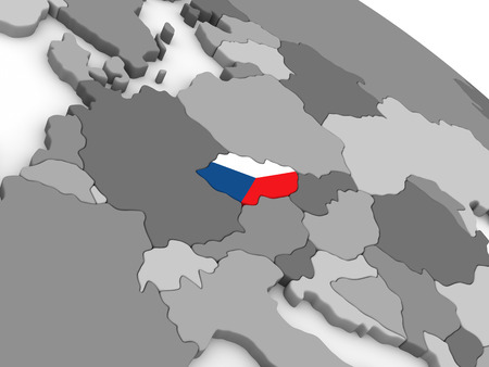 embedded: Map of Czech republic with embedded national flag. 3D illustration