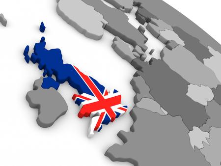 Map of United Kingdom with embedded national flag. 3D illustration