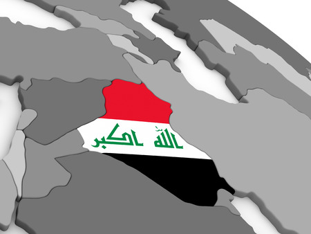 embedded: Map of Iraq with embedded national flag. 3D illustration