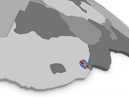 diplomacy: Map of Swaziland with embedded national flag. 3D illustration