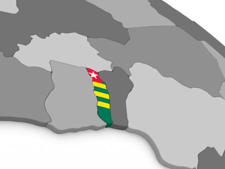 embedded: Map of Togo with embedded national flag. 3D illustration Stock Photo