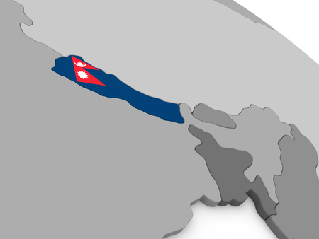 nepal: Map of Nepal with embedded national flag. 3D illustration