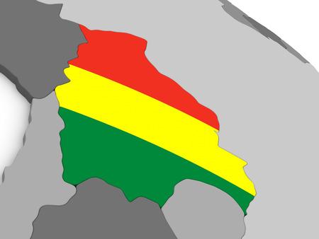 mapa de bolivia: Mapa de Bolivia con la bandera nacional incorporado. ilustraci�n 3D