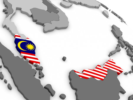 embedded: Map of Malaysia with embedded national flag. 3D illustration Stock Photo