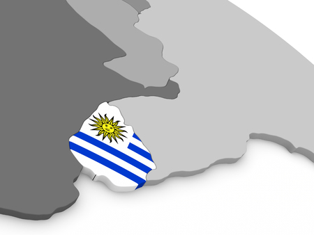 diplomacy: Map of Uruguay with embedded national flag. 3D illustration Stock Photo