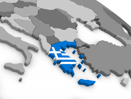 ellada: Map of Greece with embedded national flag. 3D illustration Stock Photo