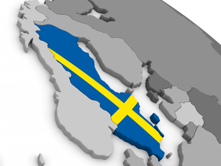 sverige: Map of Sweden with embedded national flag. 3D illustration