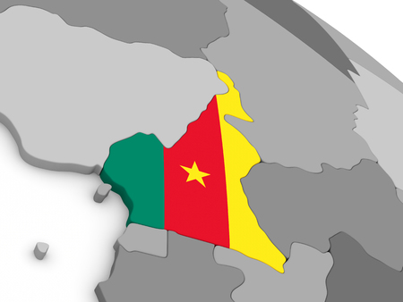 cameroon: Map of Cameroon with embedded national flag. 3D illustration