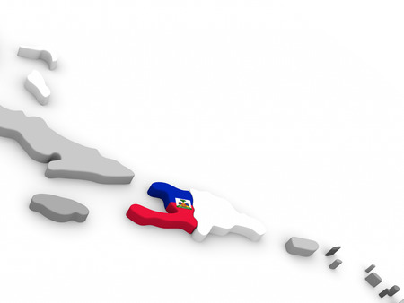 embedded: Map of Haiti with embedded national flag. 3D illustration
