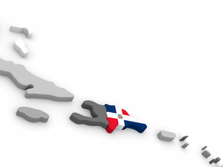 embedded: Map of Dominican Republic with embedded national flag. 3D illustration