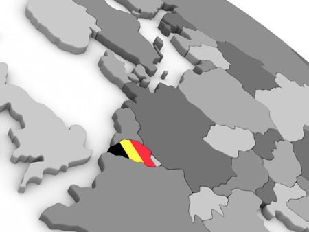 embedded: Map of Belgium with embedded national flag. 3D illustration