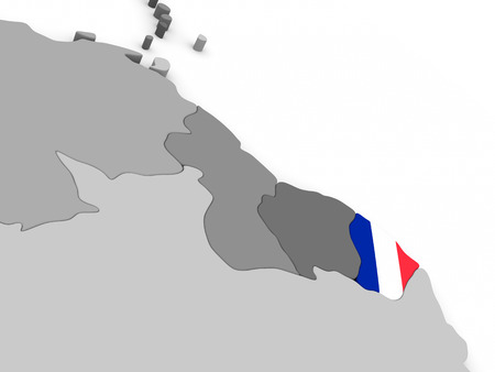 diplomacy: Map of French Guiana with embedded national flag. 3D illustration Stock Photo