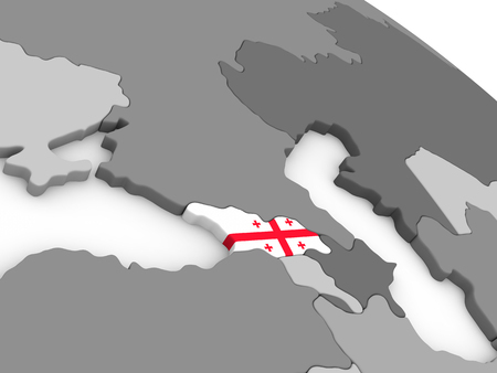 georgian: Map of Georgia with embedded national flag. 3D illustration