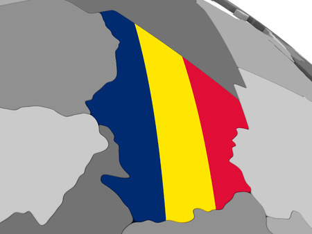 diplomacy: Map of Chad with embedded national flag. 3D illustration