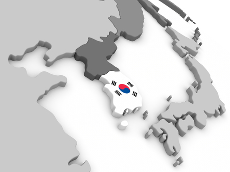 embedded: Map of South Korea with embedded national flag. 3D illustration