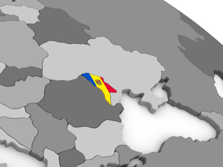 moldovan: Map of Moldova with embedded national flag. 3D illustration