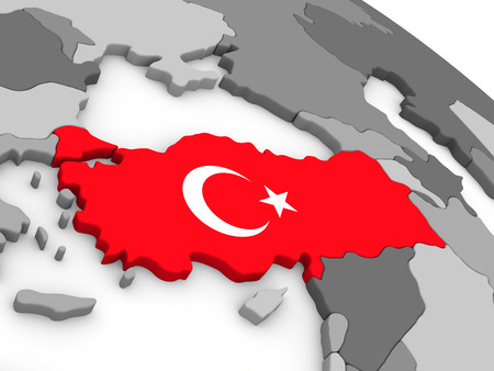 embedded: Map of Turkey with embedded national flag. 3D illustration Stock Photo