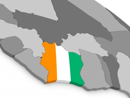 diplomacy: Map of Ivory Coast with embedded national flag. 3D illustration Stock Photo