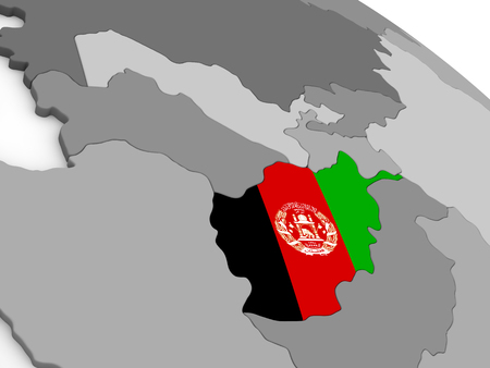 diplomacy: Map of Afghanistan with embedded national flag. 3D illustration