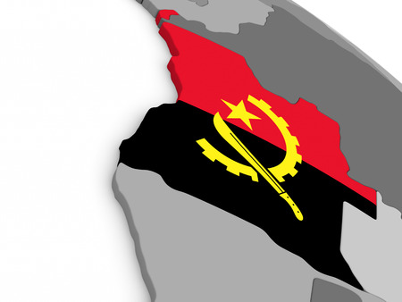 diplomacy: Map of Angola with embedded national flag. 3D illustration