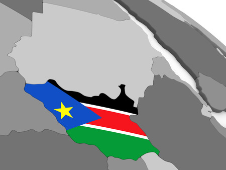south sudan: Map of South Sudan with embedded national flag. 3D illustration