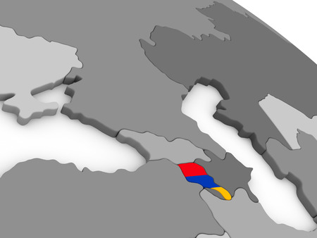map of armenia: Map of Armenia with embedded national flag. 3D illustration