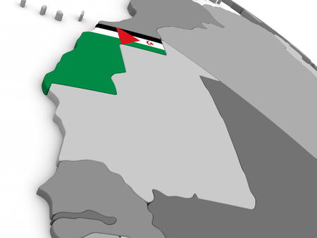 embedded: Map of Westarn Sahara with embedded national flag. 3D illustration