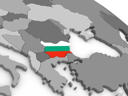 Carte de la Bulgarie avec le drapeau national intégré. illustration 3D