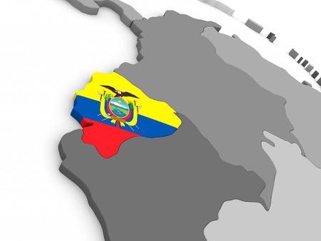 republic of ecuador: Map of Ecuador with embedded national flag. 3D illustration