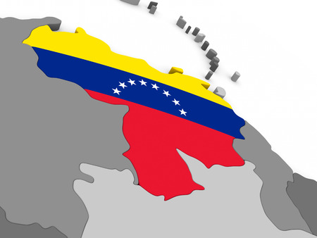 diplomacy: Map of Venezuela with embedded national flag. 3D illustration