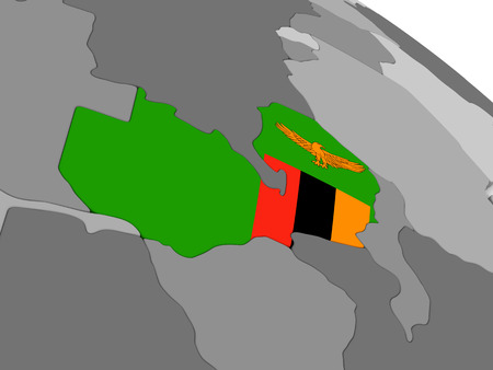 diplomacy: Map of Zambia with embedded national flag. 3D illustration