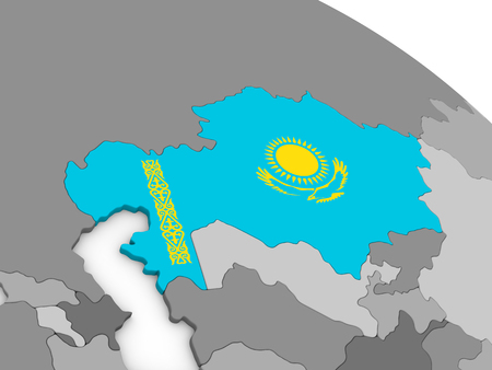 embedded: Map of Kazakhstan with embedded national flag. 3D illustration Stock Photo