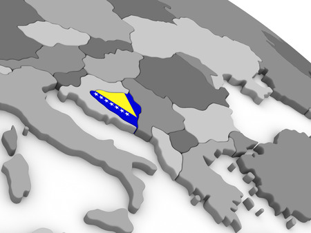 bosnian: Map of Bosnia with embedded national flag. 3D illustration Stock Photo