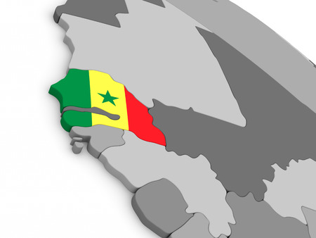 senegalese: Map of Senegal with embedded national flag. 3D illustration