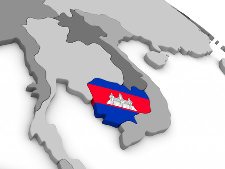 cambodian flag: Map of Cambodia with embedded national flag. 3D illustration