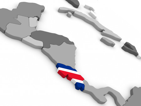 costa rican flag: Map of Costa Rica with embedded national flag. 3D illustration